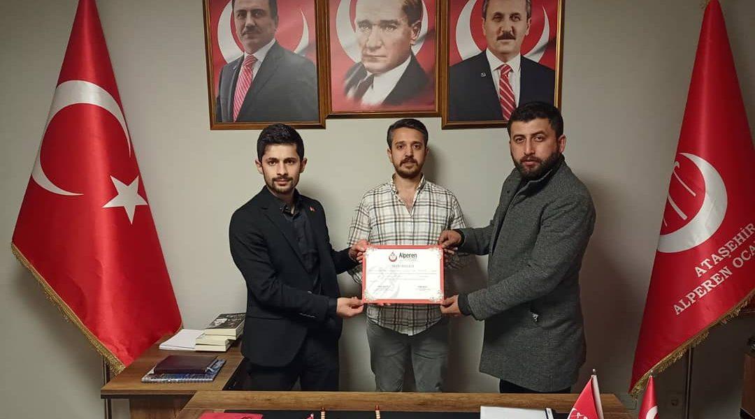 Ataşehir Ocak Başkanına : Mazbata Teslimi